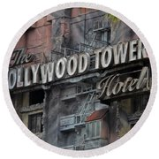 The Hollywood Hotel Signage Round Beach Towel