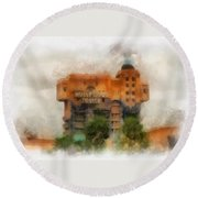 The Hollywood Tower Hotel Disneyland Photo Art 01 Round Beach Towel