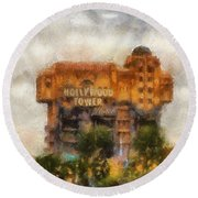 The Hollywood Tower Hotel Disneyland Photo Art 02 Round Beach Towel
