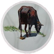 The Holy Cow And Dung. Round Beach Towel