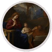 The Holy Family In Egypt Round Beach Towel