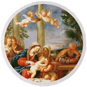 The Holy Family With St. Elizabeth And St. John The Baptist, C.1645-50 Oil On Copper Round Beach Towel