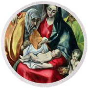 The Holy Family With St Elizabeth Round Beach Towel