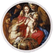 The Holy Family With St Elizabeth St John And A Dove Round Beach Towel