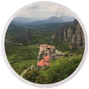 The Holy Monastery Of Rousanou Meteora Greece  Round Beach Towel