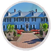The Homestead Birthplace Of Milton Hershey Round Beach Towel