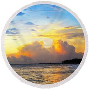 The Honeymoon - Sunset Art By Sharon Cummings Round Beach Towel by Sharon Cummings