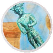 The Horned God From Egkomi .  Round Beach Towel