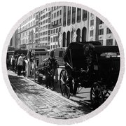 The Horse And Buggy Lineup Round Beach Towel