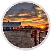 The Horse Barn Sunset Round Beach Towel