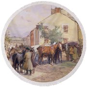 The Horse Fair  Round Beach Towel by John Atkinson