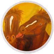 The Horse Kiss - Original Oil Painting Round Beach Towel