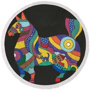 The Horse Of Good Fortune Round Beach Towel