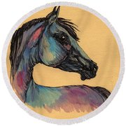 The Horse Portrait 1 Round Beach Towel
