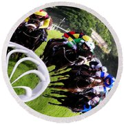The Horse Race Round Beach Towel
