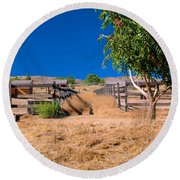 The Horse Ranch Round Beach Towel