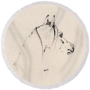 The Horse Sketch Round Beach Towel