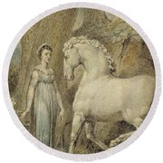 The Horse Round Beach Towel by William Blake