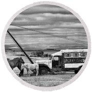 The Horses And The Welding Truck Round Beach Towel