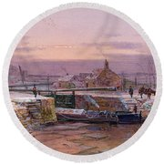 The House By The Canal Round Beach Towel