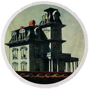 The House By The Railroad Round Beach Towel
