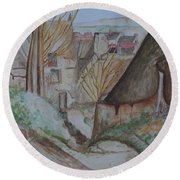 The House Of The Hanged Man After Cezanne Round Beach Towel