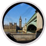 The Houses Of Parliament In London Round Beach Towel