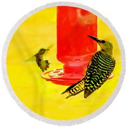 The Humming Bird And Gila Woodpecker Round Beach Towel