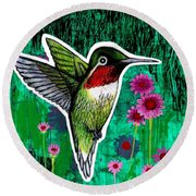 The Hummingbird Round Beach Towel by Genevieve Esson