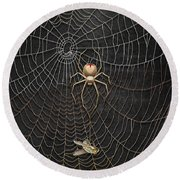 The Hunter And Its Pray - A Gold Fly Caught By A Gold Spider Round Beach Towel
