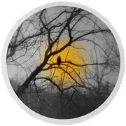 The Hunters Moon And The Barred Owl Round Beach Towel