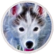 The Huskie Pup Round Beach Towel by Bill Cannon