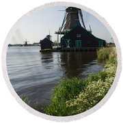 The Iconic Windmills Of  Holland  Round Beach Towel