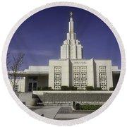 The Idaho Falls Mormon Temple Round Beach Towel