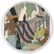 The Idle Beauty Round Beach Towel by Georges Barbier