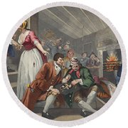The Idle Prentice Betrayed Round Beach Towel by William Hogarth