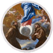 The Immaculate Conception With Saints Francis Of Assisi And Anthony Of Padua Round Beach Towel