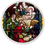 The Incarnation - Madonna And Child Round Beach Towel