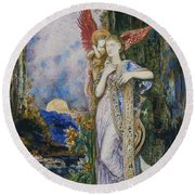 The Inspiration  Round Beach Towel by Gustave Moreau