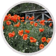 The Inspiration Of Orange Poppies Round Beach Towel