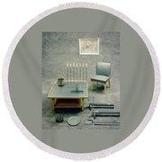 The Interior Design Of A Gray Living Room Round Beach Towel