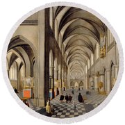 The Interior Of A Gothic Church Round Beach Towel by Hendrik the Younger Steenwyck