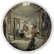 The Interior Of A Hut Of A Mandan Chief Round Beach Towel by Karl Bodmer