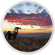 The Iron Horse Early Dawn The Iron Horse Collection Art Round Beach Towel