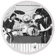 The J. Geils Band Rock Out In Oakland In 1976 Round Beach Towel