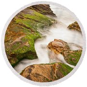 The Jagged Rocks And Cliffs Of Montana De Oro State Park In California Round Beach Towel