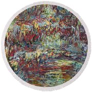 The Japanese Bridge At Giverny Round Beach Towel by Claude Monet
