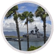 The Japanese Self Defense Force Ship Js Round Beach Towel