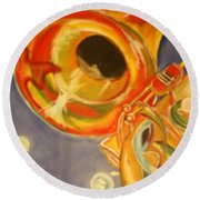 The Jazz Horn Round Beach Towel