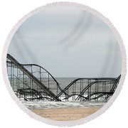 The Jetstar Rollercoaster In Seaside Heights Nj Round Beach Towel